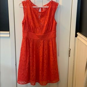 coral lace dress with lining